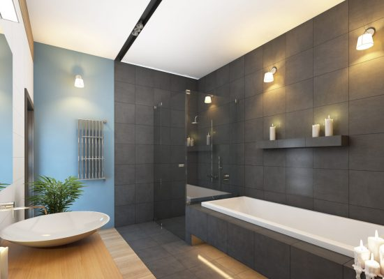 Bathroom in Grey and Blue Colours