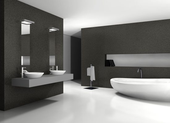 Bathroom with modern and contemporary design and furniture in black and white, 3d rendering.