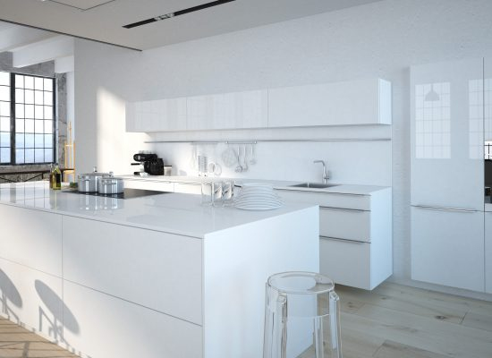 The modern kitchen interior design. 3d rendering